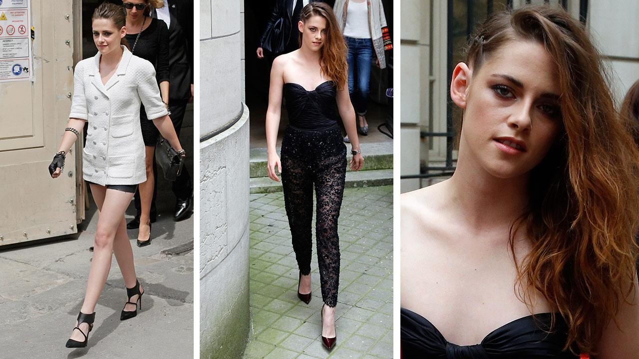 Kristen Stewart departs after the show of fashion designer Zuhair Murads Haute Couture Fall-Winter 2013-2014 show, presented on Thursday, July 4, 2013 in Paris.