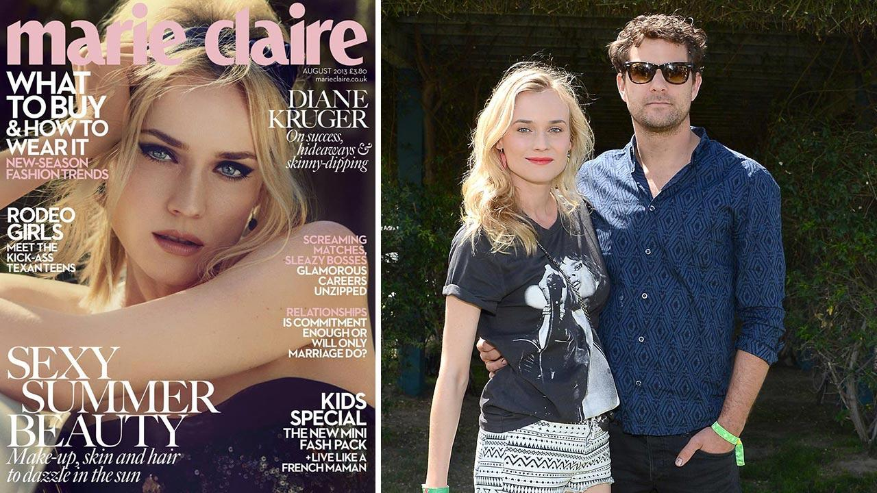 Diane Kruger appears on the cover of Marie Claire UKs August 2013 issue. / Diane Kruger and boyfriend Joshua Jackson (Fringe, Dawsons Creek) attend the HM Loves Music Coachella 2013 kick off event on April 13, 2013 in La Quinta, California.