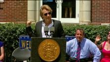 Jon Bon Jovi gives a speech in his hometown of Sayreville, New Jersey on July 8, 2013. The rocker donated $1 million to the  Hurricane Sandy New Jersey Relief Fund