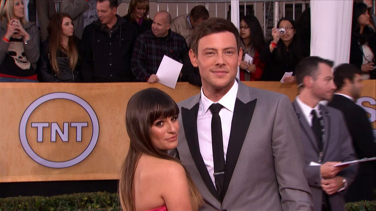 Cory Monteith and Glee co-star and girlfriend Lea Michele attend the SAG Awards on Jan. 27, 2013.