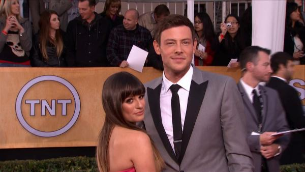 Cory Monteith and Glee co-star and girlfriend Lea Michele attend the SAG Awards on Jan. 27, 2013. - Provided courtesy of OTRC
