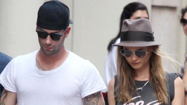 Adam Levine (in town to film his new movie Can a Song Save Your Life?) and girlfriend walking in Soho with a friend on July 1, 2013. - Provided courtesy of Adam Nemser/startraksphoto.com
