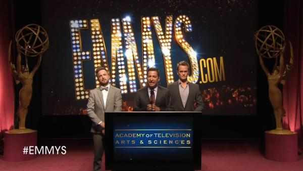 Aaron Paul, Neil Patrick Harris and Academy of Television Arts & Sciences Chairman-CEO, Bruce Rosenblum announce the 2013 Primetime Emmy Award nominations on July 18, 2013. - Provided courtesy of Academy of Television Arts & Sciences