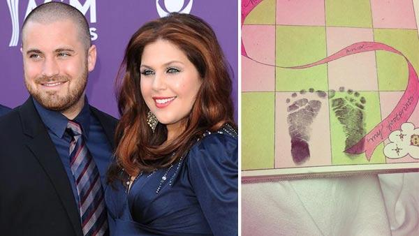 Hillary Scott and her husband Chris Tyrrell appear at the 48th Annual Academy Of Country Music Awards on April 7, 2013. / Scott Tweeted a photo of her daughters footprints on July 22, 2013. - Provided courtesy of ABC / Kyle Rover/startraksphoto.com / Twitter.com/HillaryScottLA