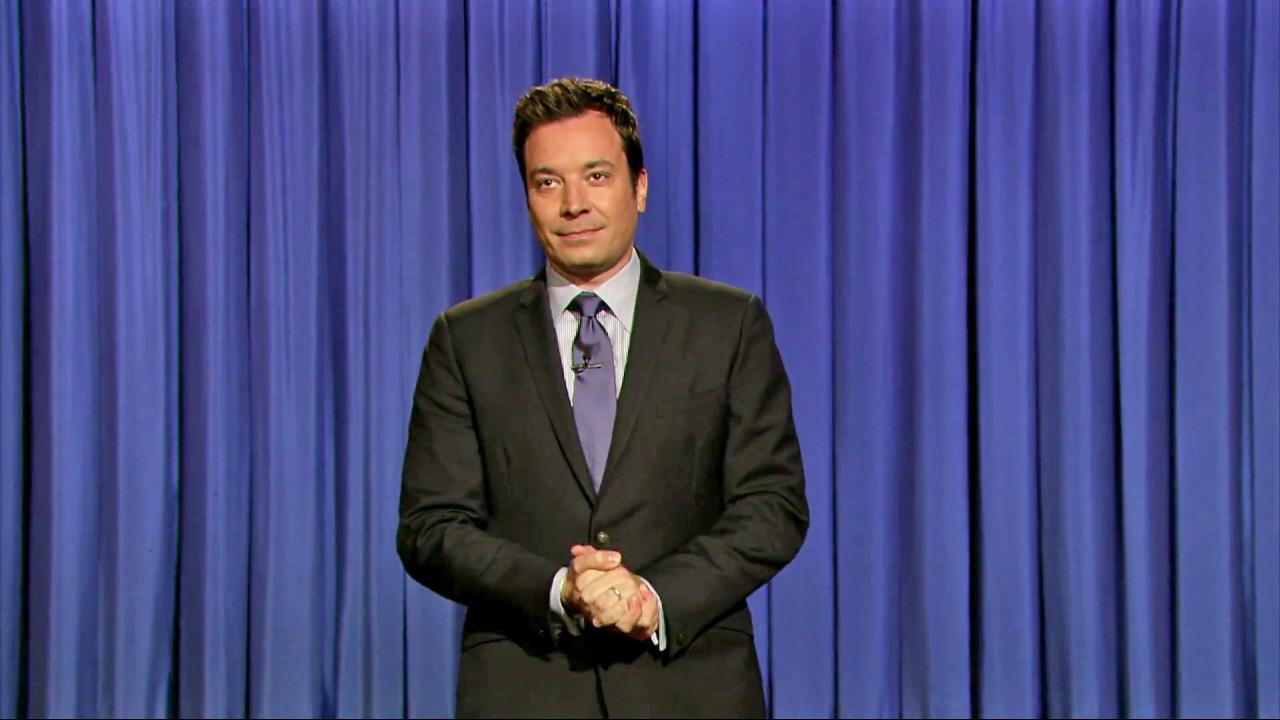 Jimmy Fallon appears during the opening monologue for Late Night with Jimmy Fallon on July 24, 2013.