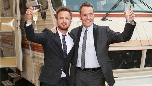 Aaron Paul and Bryan Cranston Celebrate the Final Episodes of Breaking Bad. - Provided courtesy of Chris Hatcher/startraksphoto.com