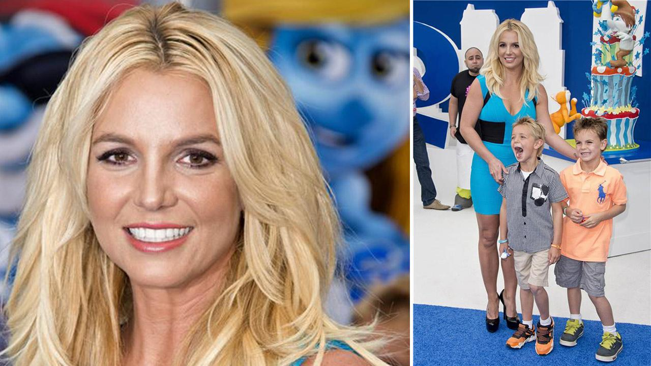 Britney Spears and sons Sean Preston, 7, and Jayden James, 6, attend the premiere of The Smurfs 2 at the Regency Village Theatre in Westwood, near Los Angeles, on July 28, 2013.