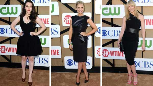 Kat Dennings, Sarah Michelle Gellar and Toni Collette all rocked classic yet different versions of the little black dress at the CBS, CW and Showtime TCA event on July 29, 2013 in Beverly Hills, California. - Provided courtesy of OTRC / OTRC