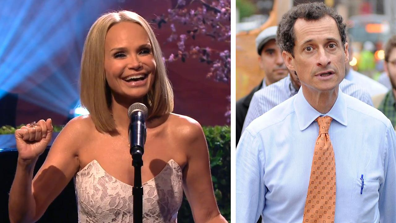 Kristin Chenoweth appears on the NBC series The Tonight Show with Jay Leno on July 30, 2013. She sang a parody of the Wicked song Popular about Anthony Weiner. / Anthony Weiner is seen walking in New York City on May 23, 2013.