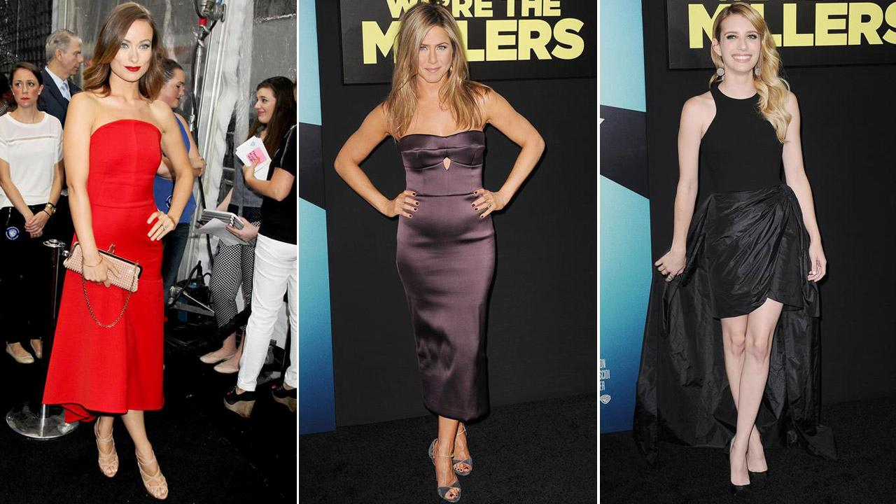 Olivia Wilde, Jennifer Aniston and Emma Roberts appear at the premiere of Were the Millers in New York City on Aug. 1, 2013.