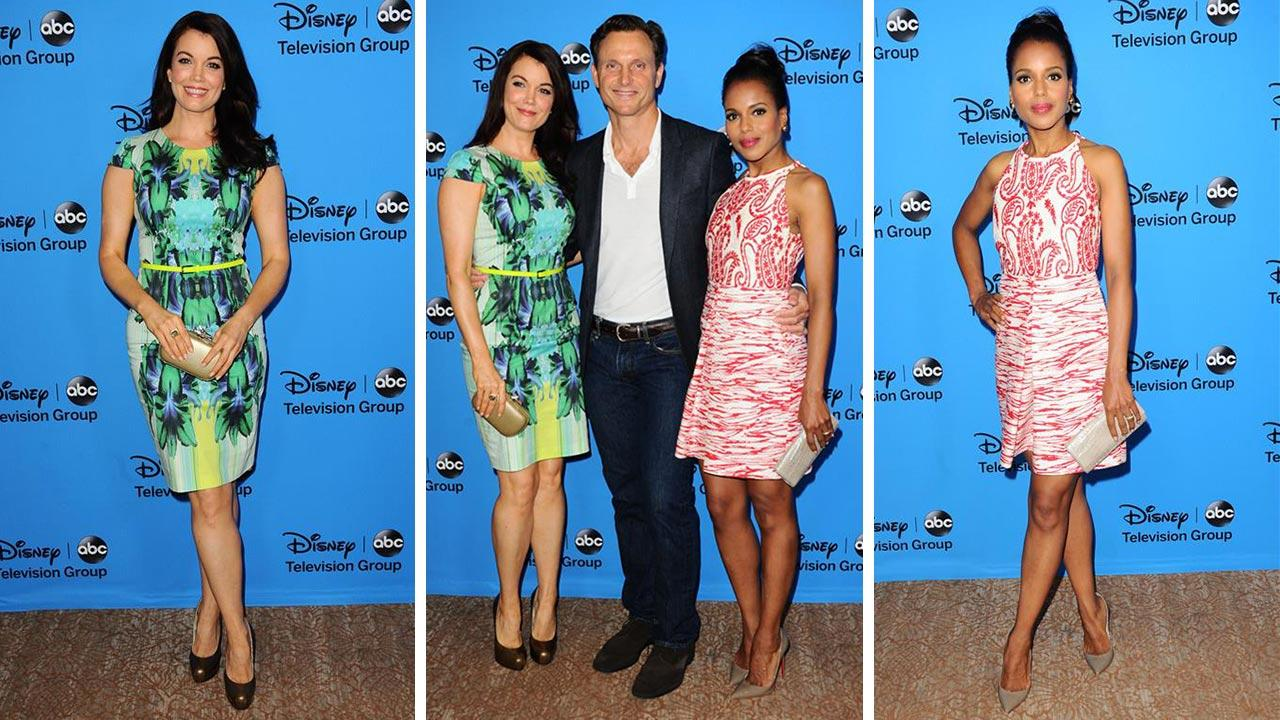 Scandal stars Bellamy Young, Tony Goodwyn and Kerry Washington attend the Disney-ABC Television TCA panel event in Beverly Hills, California on Aug. 4, 2013.