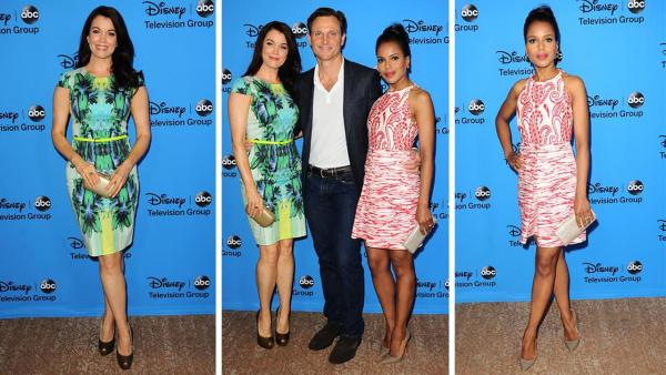 Scandal stars Bellamy Young, Tony Goodwyn and Kerry Washington attend the Disney-ABC Television TCA panel event in Beverly Hills, California on Aug. 4, 2013. - Provided courtesy of Sara De Boer / startraksphoto.com
