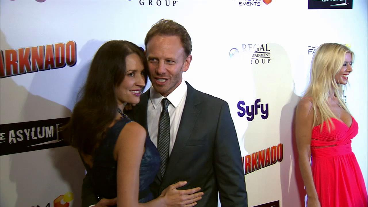 ian Ziering and his wife Erin Kristine Ludwig pose at the premiere of Sharknado on Aug. 2, 2013. The film aired on SyFy in July and was widely praised -- and mocked -- on Twitter. It was screened in select theaters on the night of the premiere.