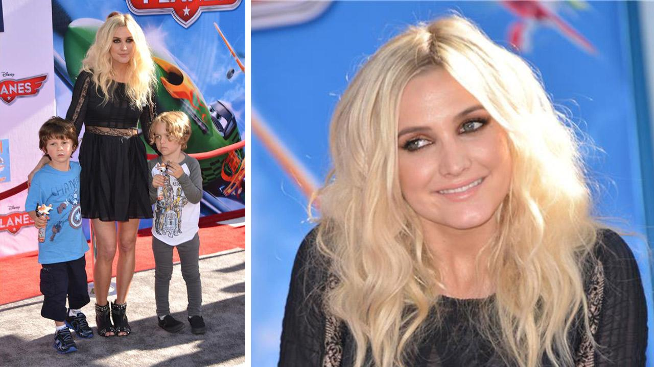 Ashlee Simpson, son Bronxi Mowgli and a guest attend the premiere of Disneys Planes film at the El Capitan Theatre in Hollywood, California on Aug. 5, 2013.