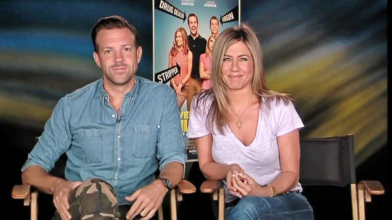 Jason Sudeikis and Jennifer Aniston appear in a satellite interview with OTRC.com on Aug. 7, 2013.