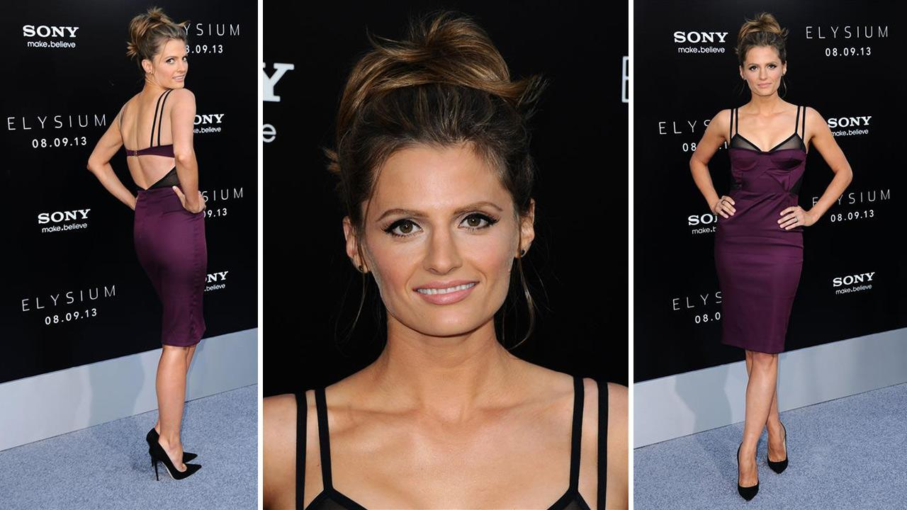 Stana Katic of ABCs Castle attends the premiere of Elysium in Los Angeles on Aug. 7, 2013.