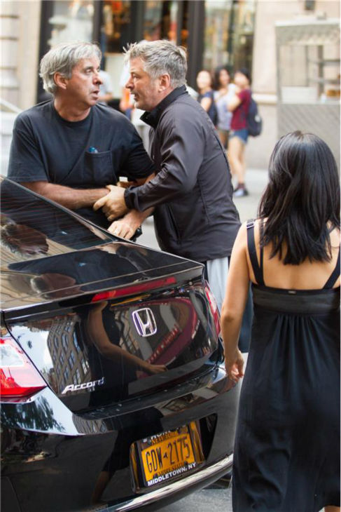 Alec Baldwin and a member of the paparazzi get into an altercation in New York City, outside of Grey Dog restaurant, in front of the actor&#39;s wife, Hilaria, on Aug. 27, 2013. Police arrived at the scene and spoke to both men. No arrests were made and no charges were filed. <span class=meta>(Freddie Baez &#47; startraksphoto.com)</span>
