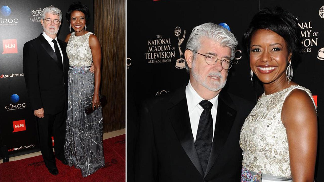 George Lucas and then-fiance Mellody Hobson attend the 40th annual Daytime Emmy Awards in Beverly Hills, California on June 16, 2013. They wed six days later. On Aug. 9, they welcomed their first child together, a baby girl.