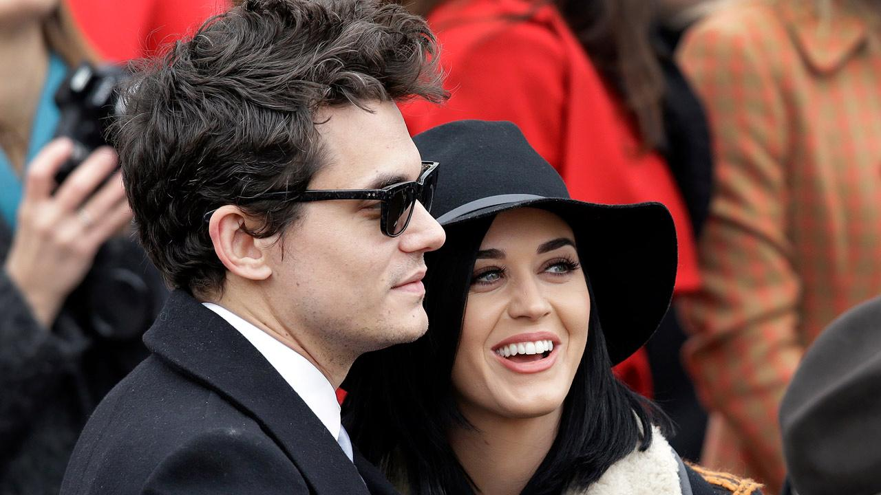 John Mayer and Katy Perry arrive at the ceremonial swearing-in for President Barack Obama at the U.S. Capitol during the 57th Presidential Inauguration in Washington, Monday, Jan. 21, 2013.