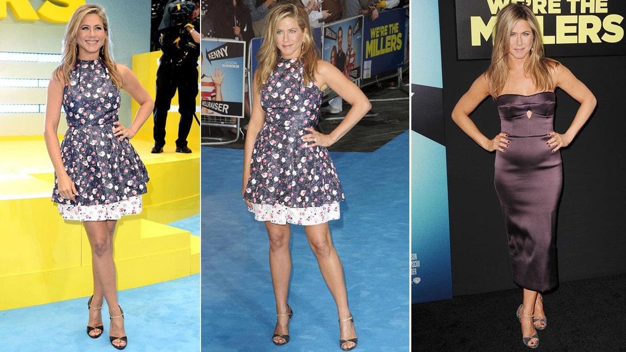 Jennifer Aniston appears at the London premiere of Were the Millers on Aug. 14, 2013. / Aniston appears at the New York premiere of Millers on Aug. 1, 2013.