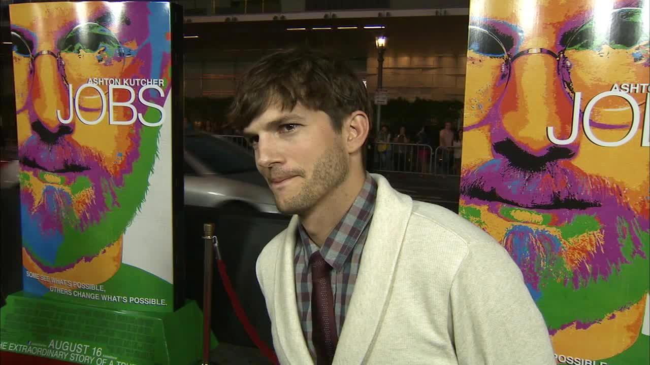 Ashton Kutcher appears in an interview with OTRC.com at the premiere of Jobs on Aug. 13, 2013.