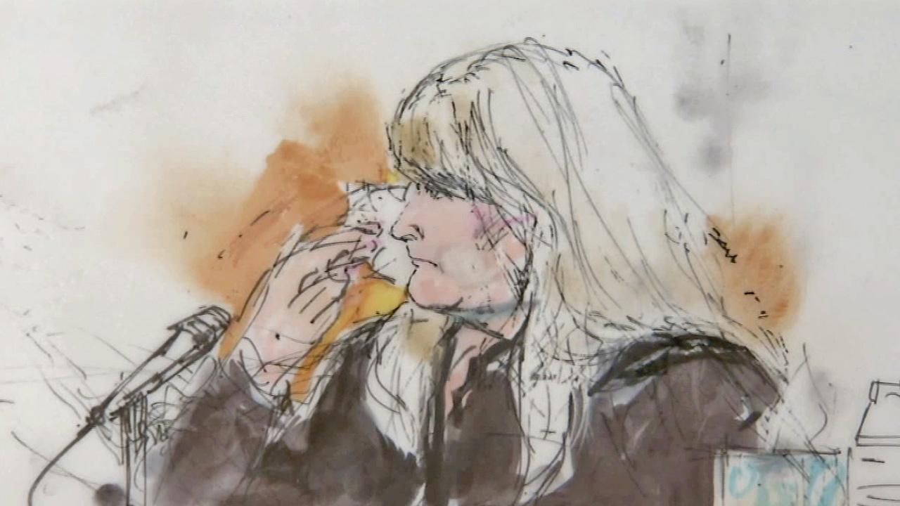 A court sketch shows Debbie Rowe, Michael Jacksons ex-wife, crying on the stand during his wrongful death trial on Thursday, Aug. 15, 2013.
