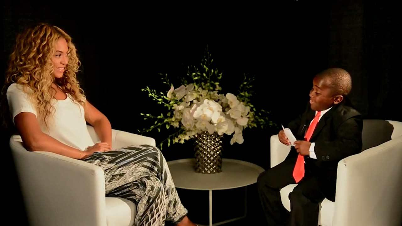 Beyonce sits down for an interview with Kid President for World Humanitarian Day.