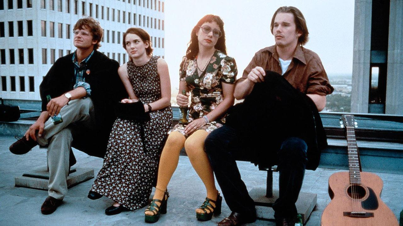 Steve Zahn, Janeane Garofalo, Winona Ryder and Ethan Hawke appear in a promotional photo for the 1994 movie Reality Bites.