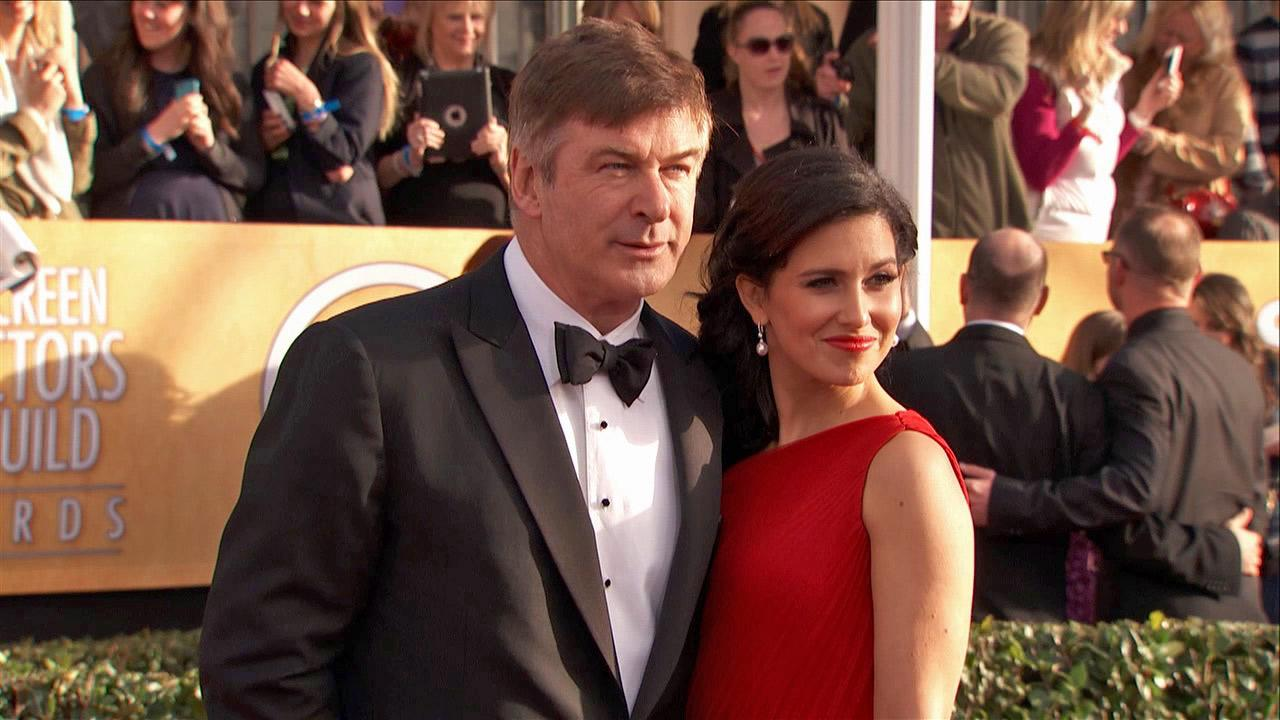 Alec Baldwin and wife Hilaria Thomas pose on the red carpet at the 2013 SAG Awards in Los Angeles on Jan. 27, 2013.