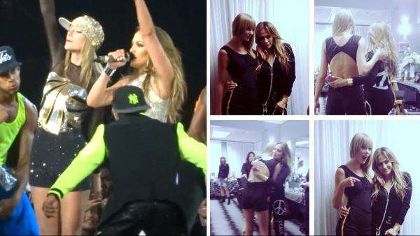 Taylor Swift and Jennifer Lopez appear in a photo posted on Lopezs Instagram account on Aug. 24, 2013. / Swift and Lopez perform together at Swifts Los Angeles concert on Aug. 24, 2013. - Provided courtesy of Instagram.com/jlo / YouTube.com