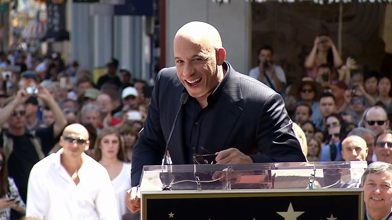 Vin Diesel speaks before receiving a star on the Hollywood Walk of Fame on Aug. 26, 2013.