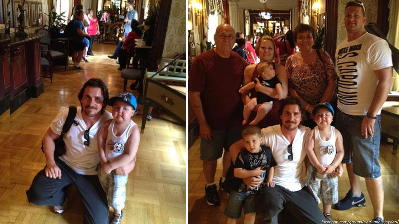 Christian Bale appears with Jayden Barber and his family at Disneyland in Anaheim, California, as seen in this photo posted by his mother on the Lighting the Batsignal for Jayden Facebook page on Sept. 7, 2012.facebook.com/groups/BatSignal4Jayden/