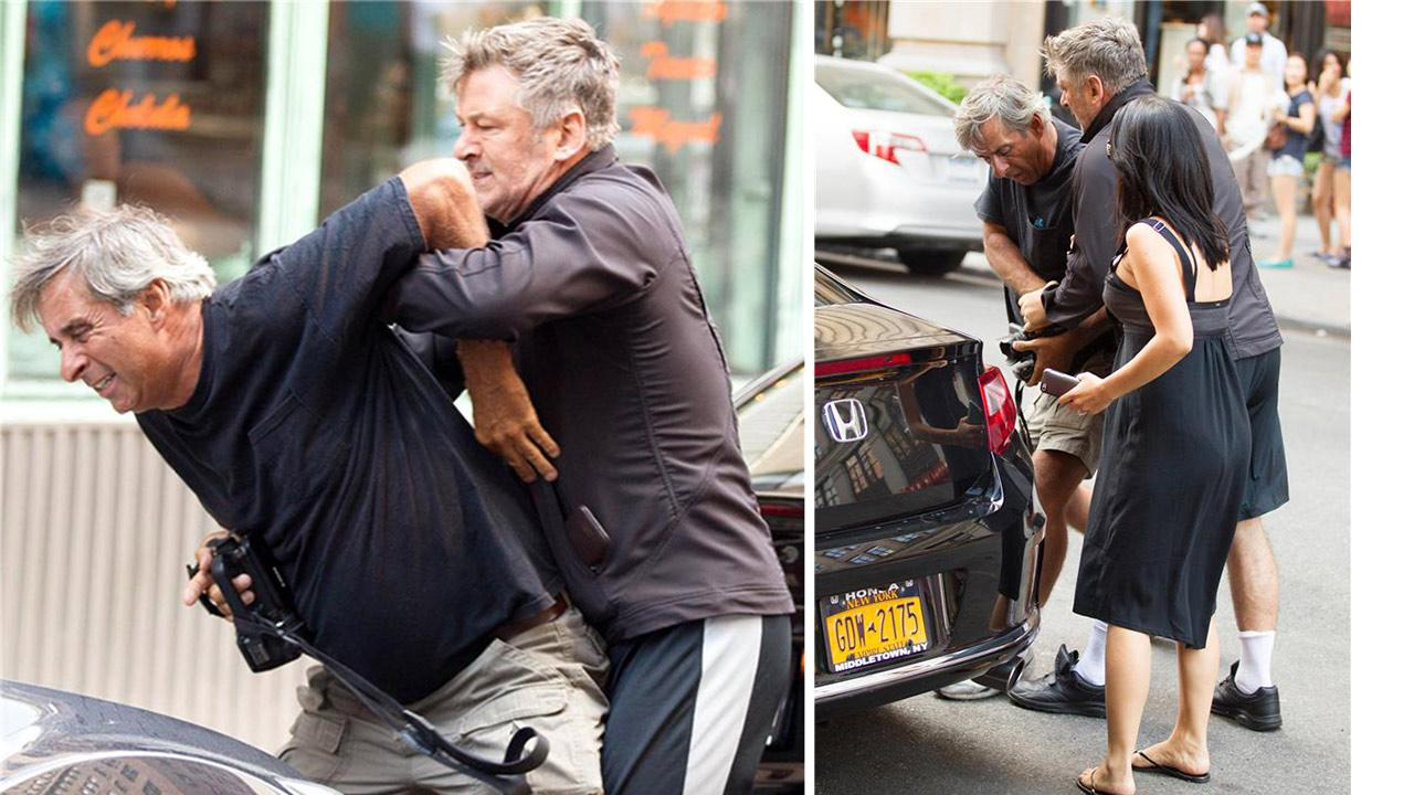Alec Baldwin and a member of the paparazzi get into an altercation in New York City, outside of Grey Dog restaurant, in front of the actors wife, Hilaria, on Aug. 27, 2013.