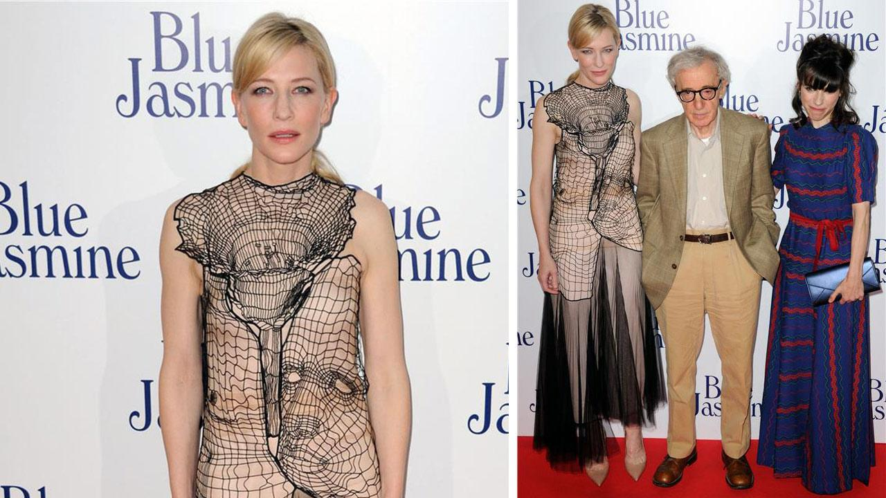 Cate Blanchett, Woody Allen and Sally Hawkins appear at the premiere of Blue Jasmine in Paris on Aug. 27, 2013.