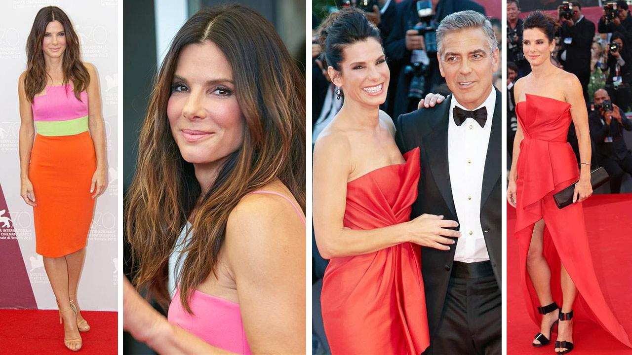 Sandra Bullock and George Clooney appear at events promoting Gravity at the 70th annual Venice International Film Festival on Aug. 27 and Aug. 28, 2013.
