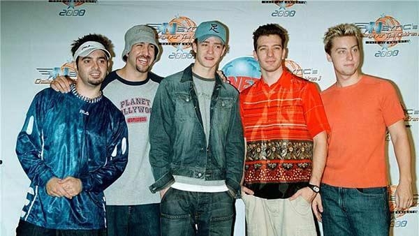 Members of 'N Sync appear at Planet Hollywood for a press conference for Challenge for the Children on July 28, 2000.