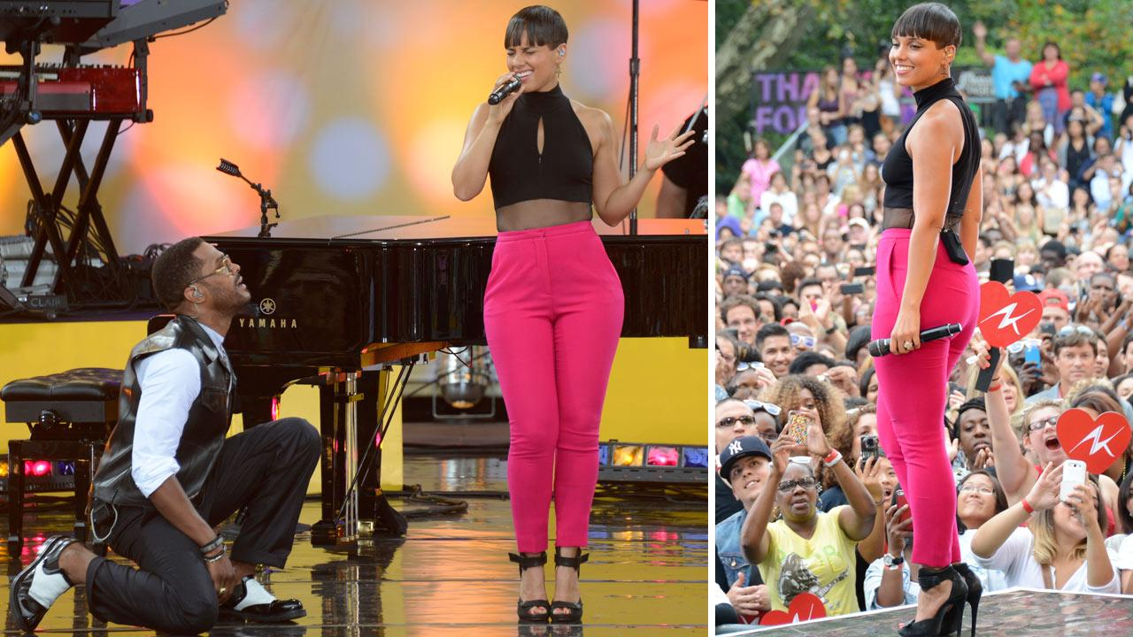 Alicia Keys and Maxwell perform Fire We Make live from New York Citys Central Park on ABCs Good Morning America (GMA) on Aug. 30, 2013.