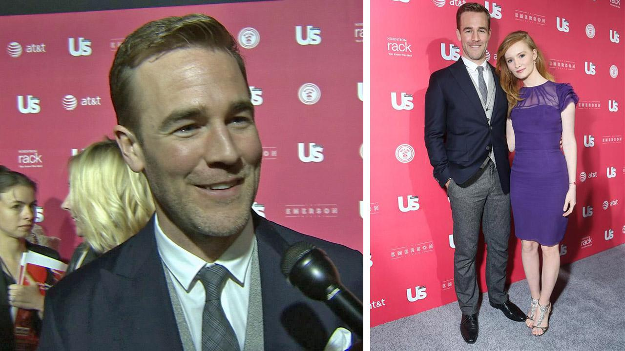 James Van Der Beek talks to OTRC.com at Us Weeklys style winners party on April 18, 2013. / James Van Der Beek and wife Kimberly appear at the party.