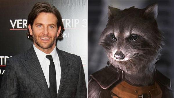 Bradley Cooper appears at The Hangover 3 premiere in Paris on May 27. 2013. / Rocket Racoon appears in a picture posted on Marvels official website on Aug. 29, 2013. - Provided courtesy of Nicolas Genin/Abaca/startraksphoto.com / Marvel