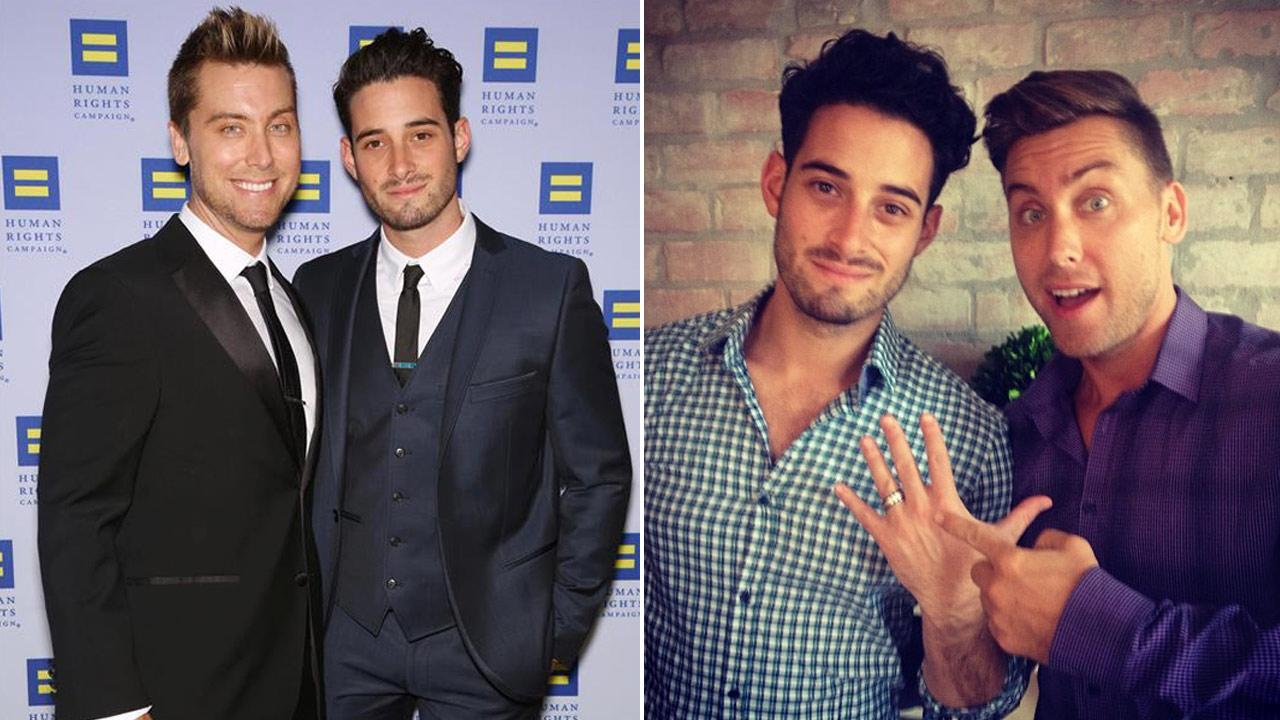 Lance Bass and fiance Michael Turchin appear at the 2013 Human Rights Campaign Los Angeles Gala on March 23, 2013. / Bass and Turchin appear in a photo posted on Bass Instagram account on Sept. 1, 2013.