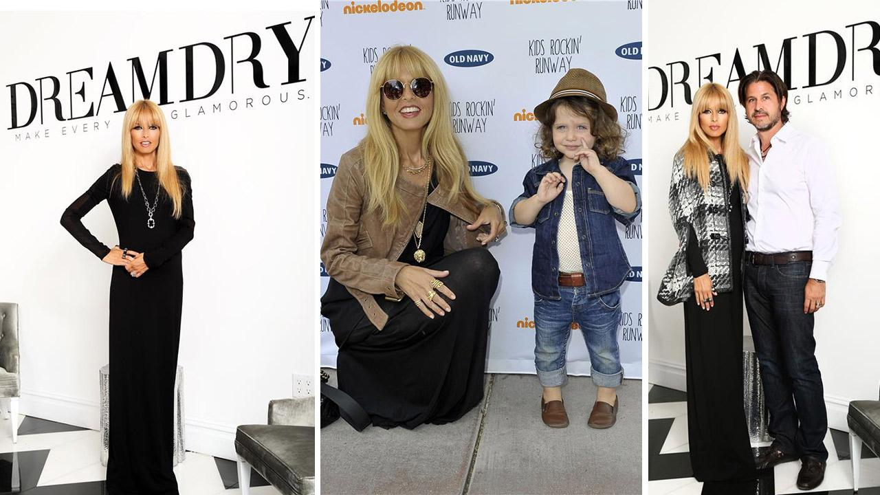 Right and left: Rachel Zoe and husband Rodger Berman attend the opening of her DreamDry salon on 57th Street in New York on Aug. 27, 2013. / Center: Rachel Zoe poses with son Skyler at the Old Navy Kid Rockin Runway event in California on Aug. 3, 2013.