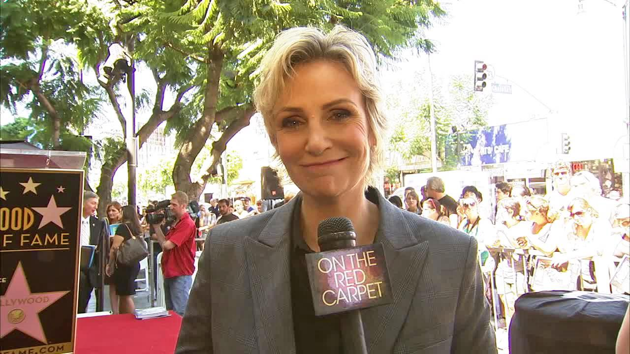Jane Lynch appears at her star ceremony at the Hollywood Walk of Fame on Sept. 4, 2013.