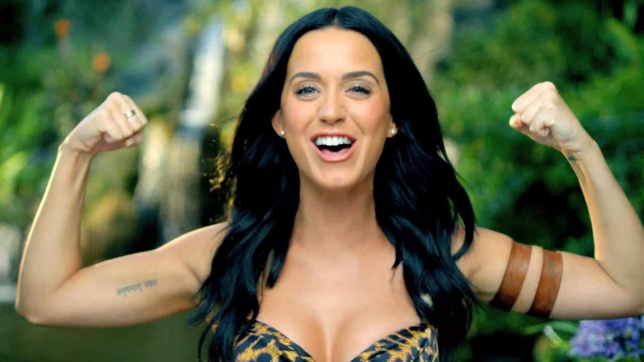 Katy Perry appears in a scene from her new music video Roar.