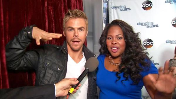 Amber Riley and Derek Hough appear in an interview with OTRC.com on Sept. 4, 2013.