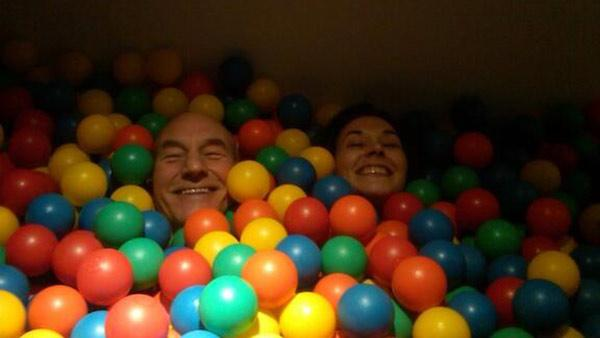 Patrick Stewart shared this picture of himself with Sunny Ozell in a ball pit on his Twitter page on Sept. 8, 2013, saying: 'Yes, married.'