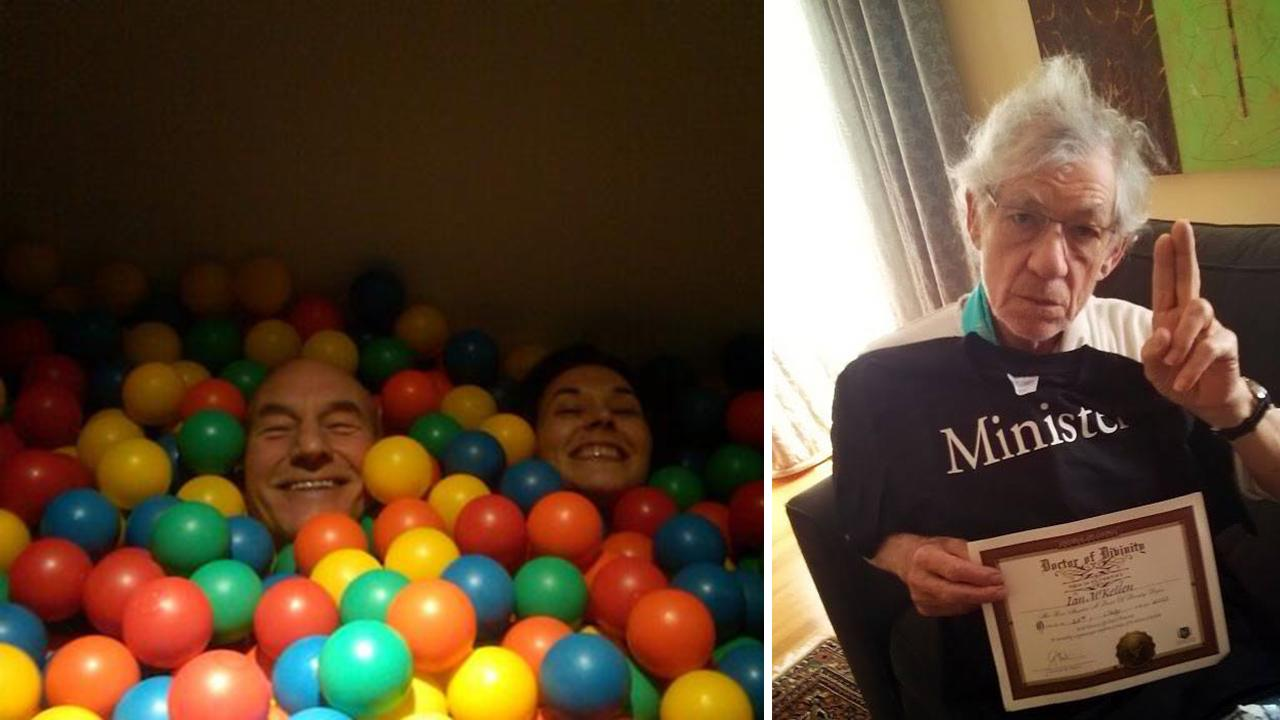 Patrick Stewart shared this picture of himself with Sunny Ozell in a ball pit on his Twitter page on Sept. 8, 2013, saying: Yes, married.