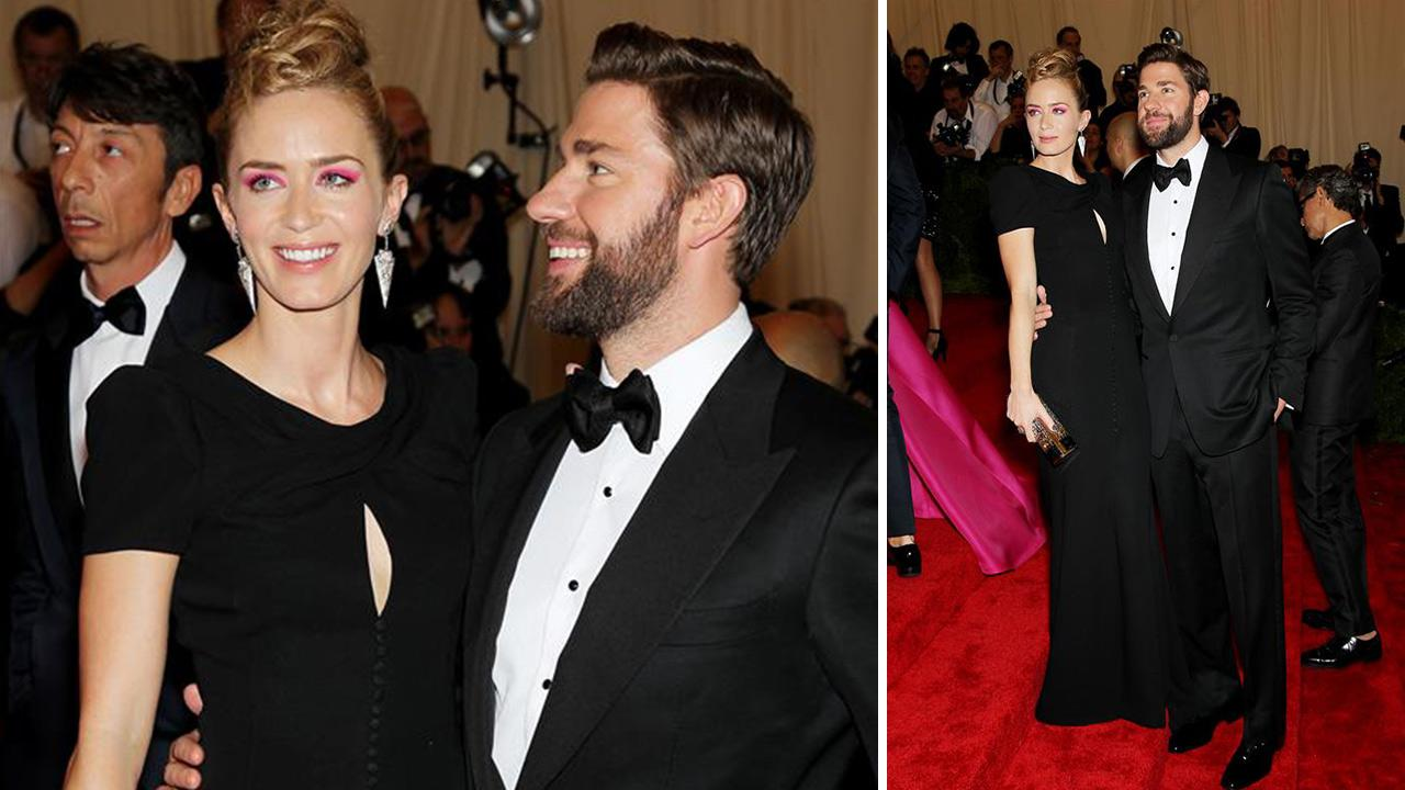 Emily Blunt and husband John Krasinski attend the 2013 Metropolitan Museum of Arts PUNK: Chaos To Couture Costume Institute Gala in New York on May 6, 2013.
