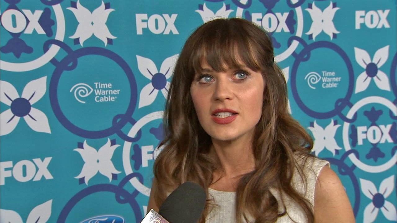 Zooey Deschanel talks to OTRC.com about season 3 of New Girl at FOXs Eco-Casino party celebrating the upcoming Fall 2013 TV season on Sept. 9, 2013.
