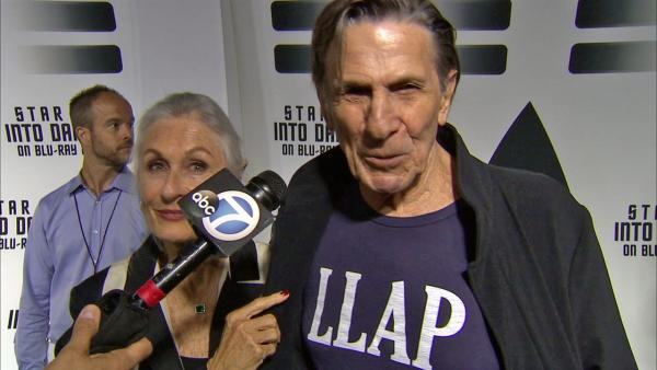 Star Trek veteran Leonard Nimoy talks to OTRC.com at a party celebrating the release of the Star Trek Into Darkness DVD at the California Science Center in Los Angeles on Sept. 10, 2013.
