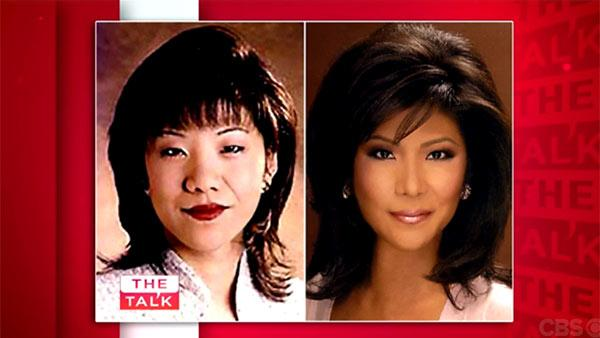 Julie Chen appears in a 'Then and Now' image showing her as a 25-year-old reporter in Ohio in the 1990s and in 2013, as seen in a Sept. 11, 2013 episode of the CBS show 'The Talk.'